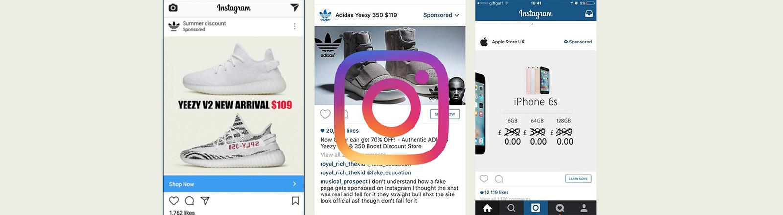 インスタグラムに蔓延する、「偽造品」広告問題が深刻化:アディダスの偽スニーカーに注意
