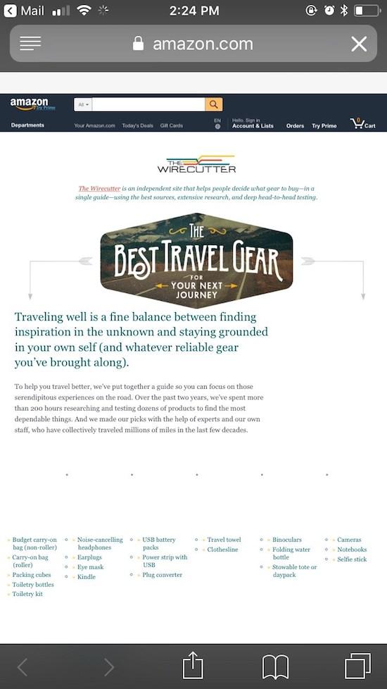 Amazonのウェブサイト上のワイヤカッターの旅行用具ガイドのモバイル版スクリーンショット